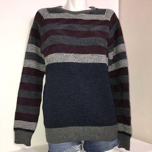 MCL Striped Crewneck Long Sleeve Wool Knit Sweater
